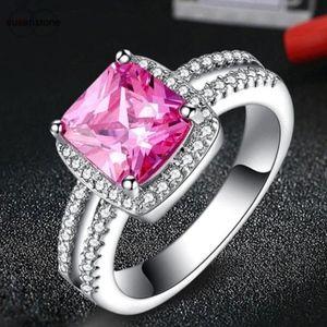 Jewelry - Pink CZ Gemstone Halo Sterling Silver Wedding Ring